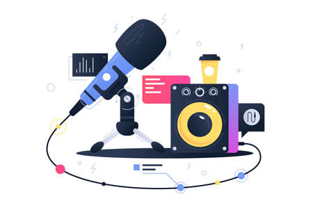 Modern technology icon of microphone connecting with subwoofer speaker. Concept symbol device for recording music. Vector illustration.