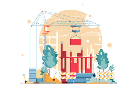 Construction in process vector illustration. Building object with crane stacking blocks. Construction materials and pipes flat style design. Isolated on white background Иллюстрация