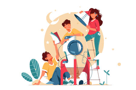 Young happy two men and girl building mini rocket together. Concept smiling male and female character friends development modern technology using equipment. illustration. 版權商用圖片