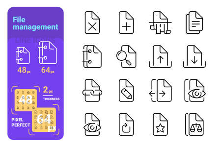 Set file management simple lines icons of paper tools. Concept collection modern symbols for read, copy, searching, download, upload, internet, ad, web. Pixel perfect. Vector illustration. Иллюстрация