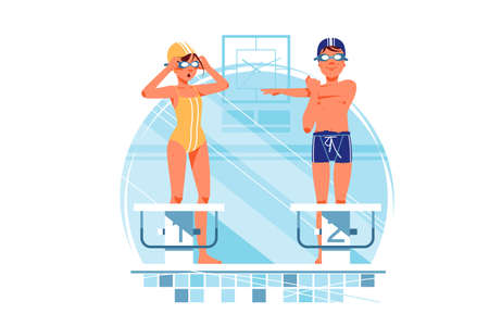 Two happy woman and man coaches and swimmers have warm up for training. Isolated concept smiling male and female sportsmen in swimming pool. Vector illustration.