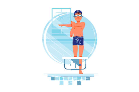Happy man coaches and swimmers have warm up for training. Isolated concept smiling male sportsmen in swimming pool. Vector illustration.