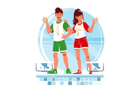 Two happy woman and man coaches and swimmers with stopwatch for training. Isolated concept smiling male and female mentors for sportsmen in swimming pool. Vector illustration. 向量圖像