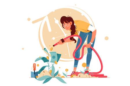 Young attractive smiling successful woman shower coins investments. Concept female businesswoman character caring for growing cash plant. illustration. Stok Fotoğraf