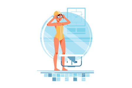 Happy woman coaches and swimmers adjusts swimming goggles for training. Isolated concept smiling female sportsmen in swimming pool. Vector illustration.