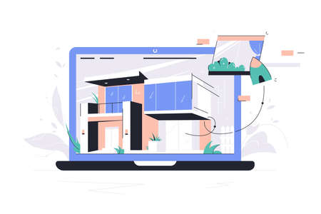 Laptop using selection materials app for house designing. Concept modern technology using for work and drawing of double decker building. Vector illustration.
