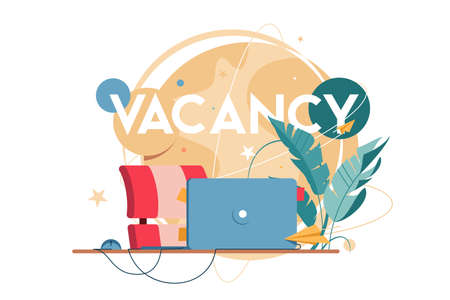 New vacancy with laptop for distance communication at workplace without people. Concept empty human resources place for hr manager using online using social media. Vector illustration.