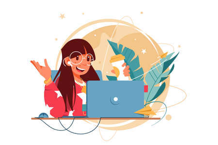 Happy woman with glasses using laptop for distance communication. Concept smiling female businesswoman character using earphone drinking coffee talking online using social media. Vector illustration.