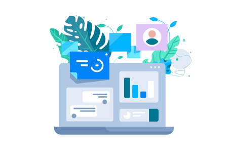 Laptop computer and co working vector illustration 向量圖像