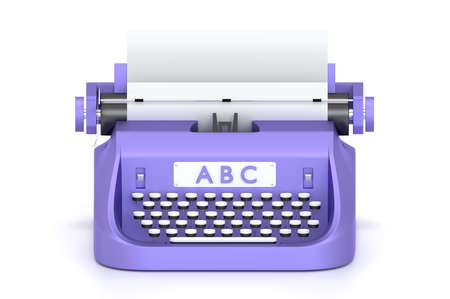 3d render typewriter with paper for writing books