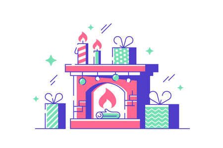Cozy new year fireplace