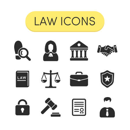 judge hammer: Set of simple grey vector justice law and legal icons Illustration
