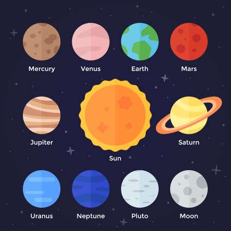 sol caricatura: Vector icon plana conjunto de sistema solar planetas sol y la luna en el fondo espacio oscuro Vectores