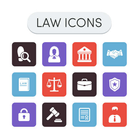 justice hammer: Set of colored vector justice law and legal icons Illustration