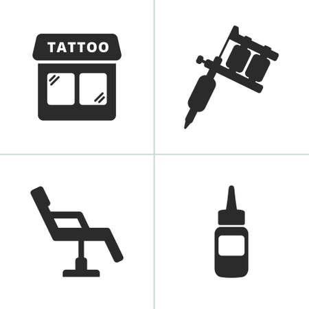 Simple tattoo icons including tattoo machine shop ink and chair