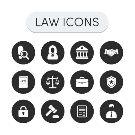 legal books: Set of round grey vector justice, law and legal icons