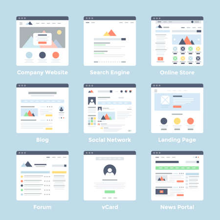 page: Vector set of simple flat website templates icons on blue background