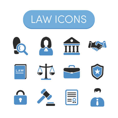 Set of grey and blue vector justice, law and legal icons Illustration