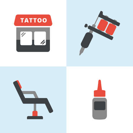 Simple flat tattoo icons including tattoo machine, shop, ink and chair Illustration