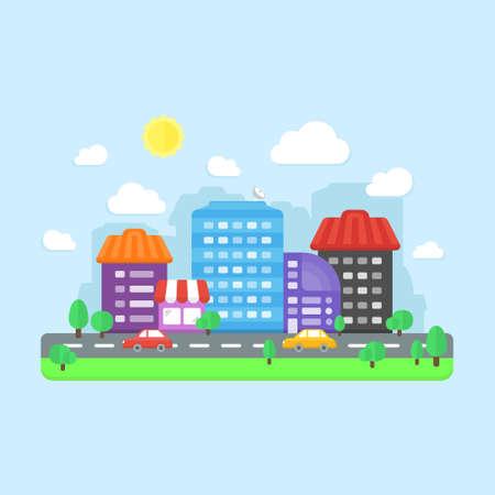 Flat design city landscape illustration on blue background