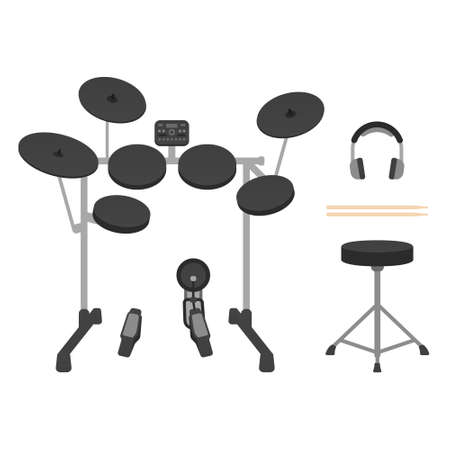 Electronic drum set with drum throne, headphones and drumsticks. Vector illustration on white background Illustration