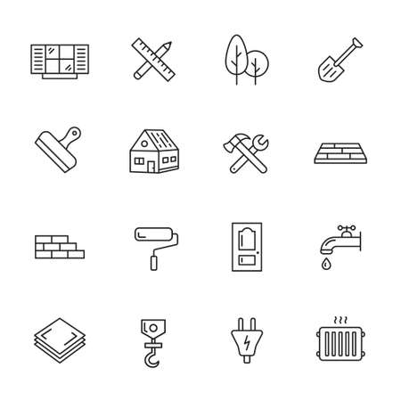 Construction, building and home repair thin line icons