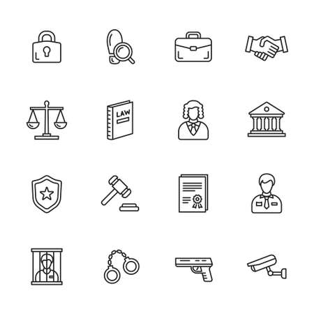 Law, justice and crime thin line icons Illustration