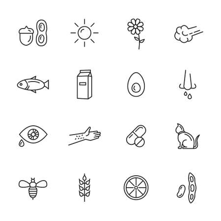 Allergy thin line icons - allergens and symptoms