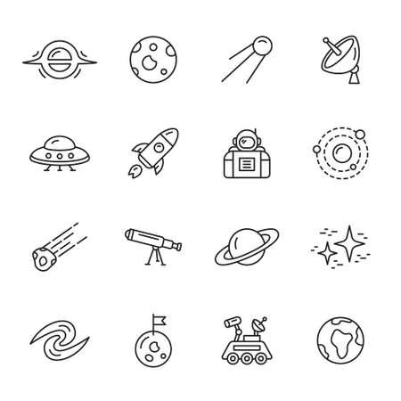 astronomie: Raumfahrt, Astronomie und Weltall dünne Linie Symbole