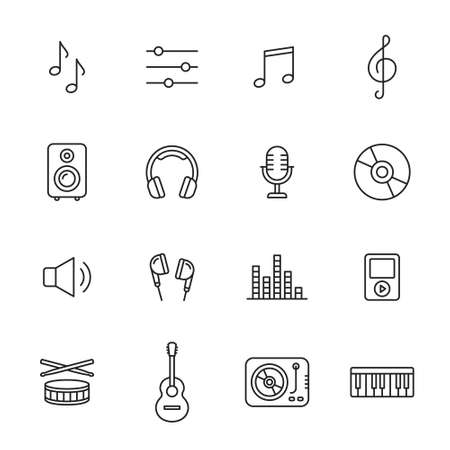 Music, audio and sound thin line icons Imagens