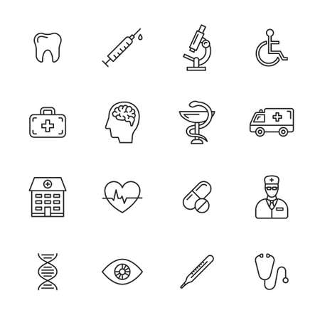 health icons: Medical and health care thin line icons