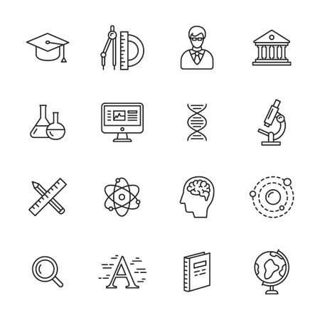Science, education and learning thin line icons