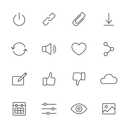 Basic interface thin line icons for web and mobile app. Set 2