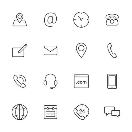 Contacto iconos de línea delgada para web y aplicaciones móviles. Foto de archivo - 43675865