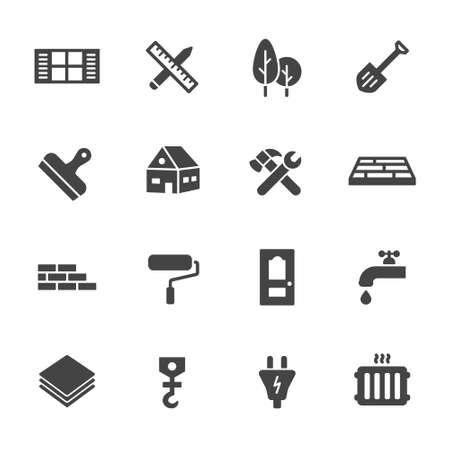 iconos: Construcci�n, construcci�n y reparaci�n de viviendas iconos. Simples iconos vectoriales planos que figuran en el fondo blanco