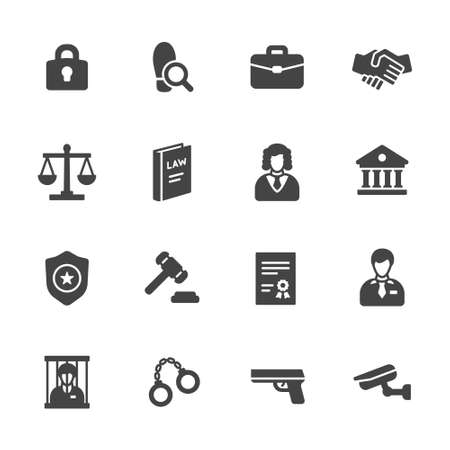 Law icons. Simple flat vector icons set on white background