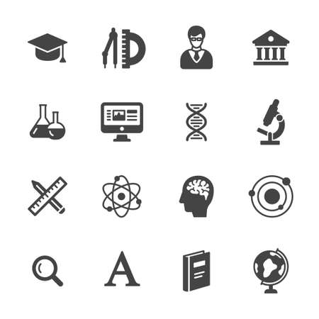 Science and school icons. Simple flat vector icons set on white background Illustration