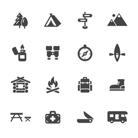caba�a: Camping, senderismo y los iconos al aire libre. Simples iconos vectoriales planos que figuran en el fondo blanco Vectores