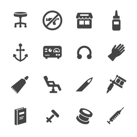 Piercing and tattoo icons. Simple flat vector icons set on white background 일러스트