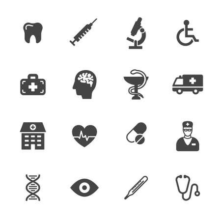 Medische en gezondheidszorg pictogrammen. Eenvoudige vlakke vector pictogrammen instellen op een witte achtergrond