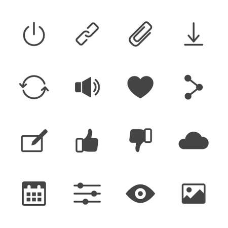 Basic interface icons set 2. Simple flat vector icons set on white background