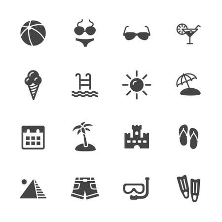 cream filled: Summer vacation icons. Simple flat vector icons set on white background