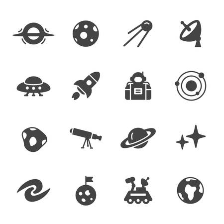 wormhole: Space and astronomy icons. Simple flat vector icons set on white background Illustration