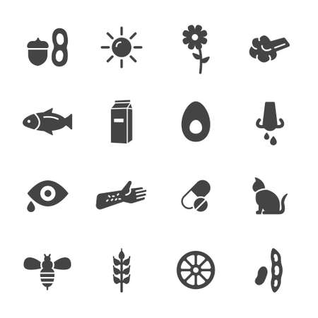 Allergy icons. Simple flat vector icons set on white background