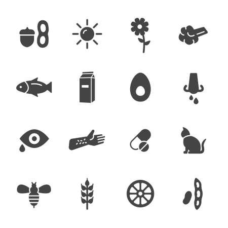 iconos: Iconos alergia. Simples iconos vectoriales planos que figuran en el fondo blanco Vectores