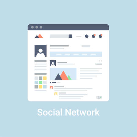 Social network website wireframe-interface sjabloon. Plat vector illustratie op een blauwe achtergrond