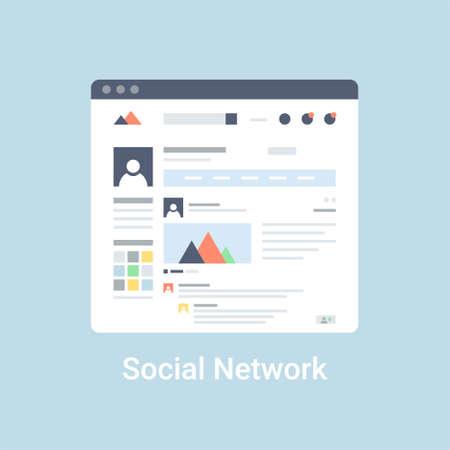 profil: Strona Social network interface szkielet szablonu. Mieszkanie ilustracji wektorowych na niebieskim tle