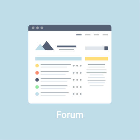 Forum website wireframe interface template. Flat vector illustration on blue background 向量圖像