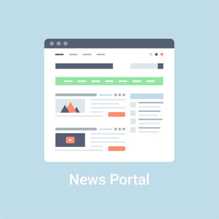 website window: News portal website wireframe interface template. Flat vector illustration on blue background Illustration