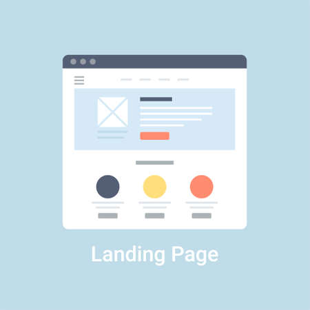 page: Landing page website wireframe interface template. Flat vector illustration on blue background